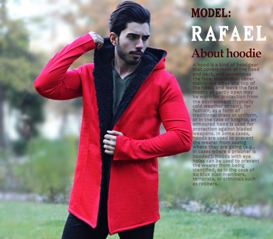 هودی خزدار مردانه  مدل  Rafael (قرمز)