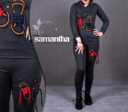 ست سویشرت و شلوار دخترانه مدل Samantha (زغال سنگی)